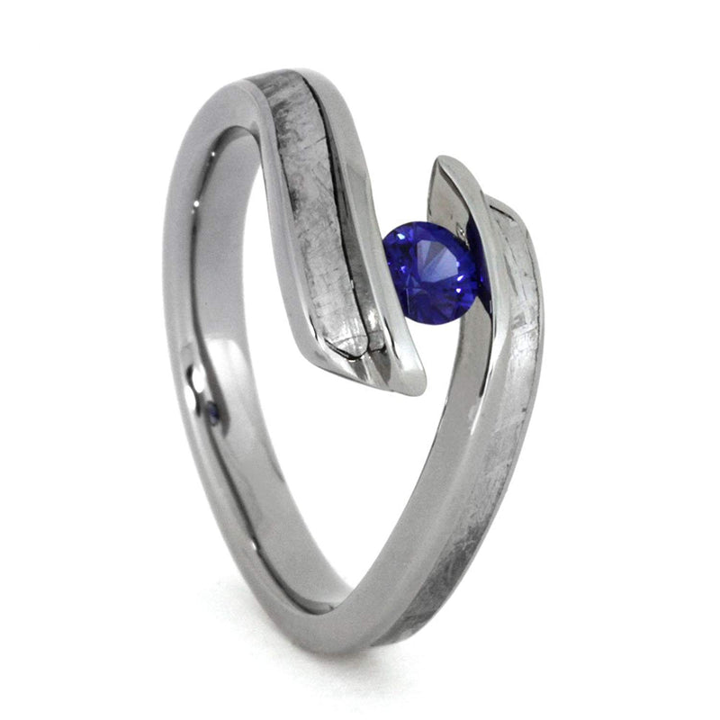 Blue Sapphire, Gibeon Meteorite Engagement Ring, Men's Gibeon Meteorite, Dinosaur Bone, His and Hers Titanium Wedding Band Set