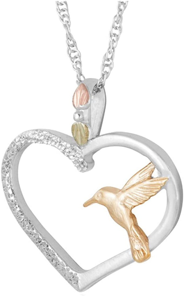 The Men's Jewelry Store (for HER) 10k Yellow Gold Hummingbird Heart Necklace, Rhodium Plate Sterling Silver on Black Hills Gold Motif, 18""