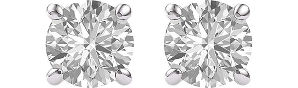 Charles & Colvard Forever One Moissanite Solitaire Earrings, Rhodium-Plated 14k White Gold (7MM)