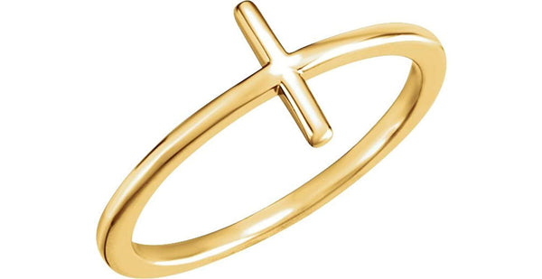Sideways Cross 14k Yellow Gold Ring