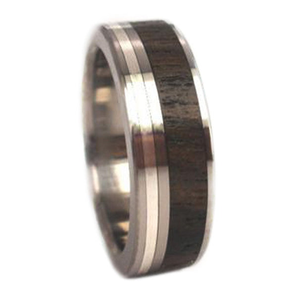 The Men's Jewelry Store (Unisex Jewelry) Ziricote Wood, 10k White Gold 7mm Comfort Fit Titanium Wedding Band, Size 4