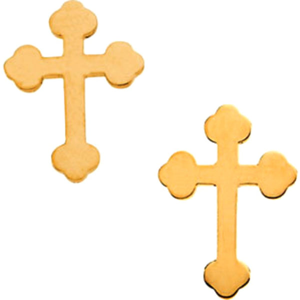 Girl's Cathedral Cross Stud Earrings, 14k Yellow Gold (11x8MM)