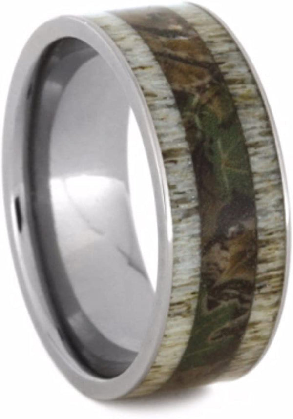 Camouflage Print and Deer Antler 9mm Comfort-Fit Titanium Wedding Band, Size 6.5