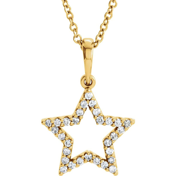 "Petite Diamond Star 14k Yellow Gold Pendant Necklace, 16"" (1/6 Cttw)"