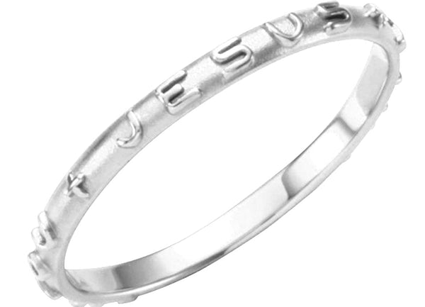 'What Would Jesus Do' 14k White Gold Prayer Ring