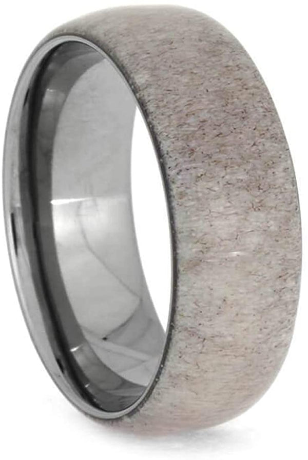 Deer Antler 8mm Comfort Fit Dome Titanium Band, Size 11.5