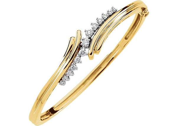 "Petite Diamond Bangle Bracelet, 14k Yellow and White Gold, 7"" (.5 Cttw, GH Color , I1 Clarity )"
