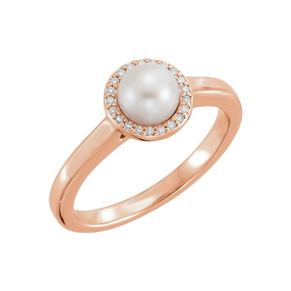 White Freshwater Cultured Pearl and Diamond Halo Ring, 14k Rose Gold (5.5-6mm) (.05Ctw, G-H Color, I1 Clarity) Size 6.5