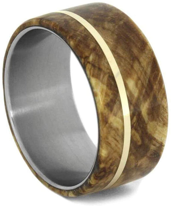 Men's Titanium Black Ash Burl, 14k Yellow Gold Pinstripe 8mm Comfort-Fit Band, Handmade, Size 7.75
