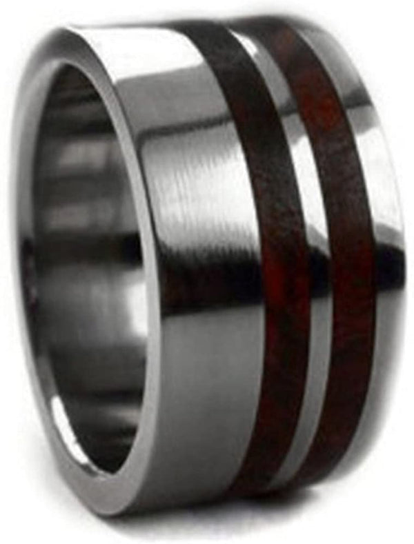 Men's Titanium Amboyna Burl Wood 10mm Comfort-Fit Band, Interchangeable, Handmade, Size 9.25