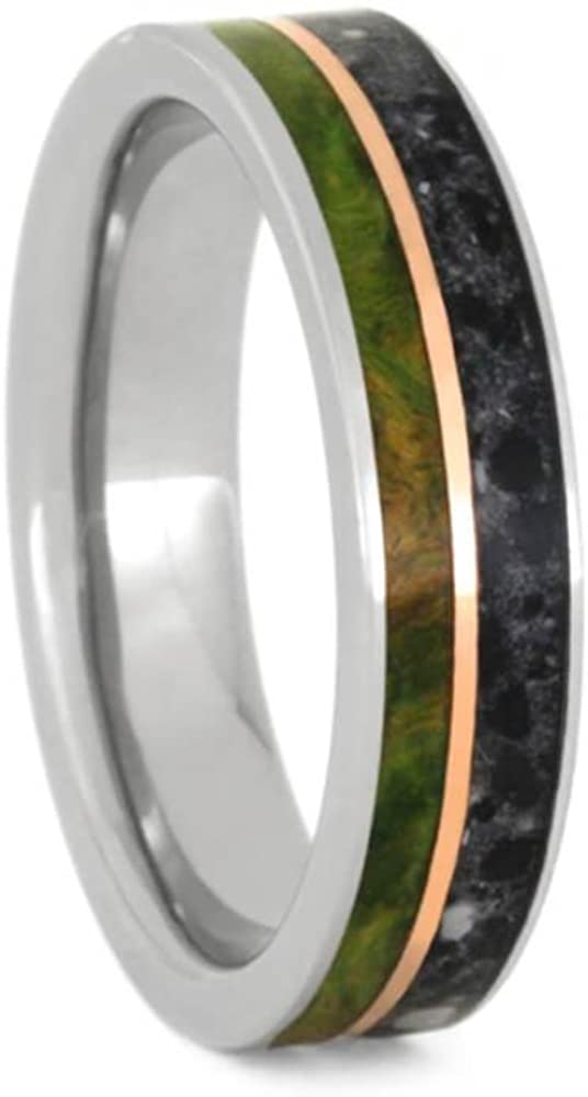 The Men's Jewelry Store (Unisex Jewelry) Peridot Box Elder Burl Wood, Concrete, Copper 5mm Titanium Comfort-Fit Wedding Band, Size 6.25