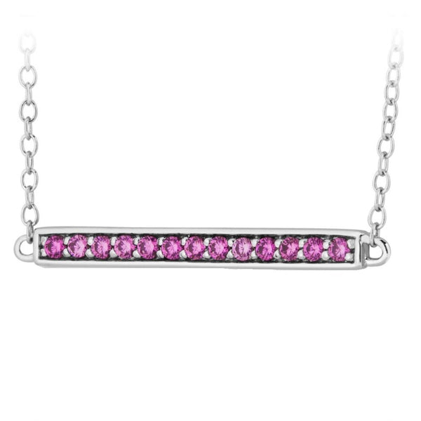 Pink CZ Bar Pendant Rhodium Plated Sterling Silver Necklace, 18""