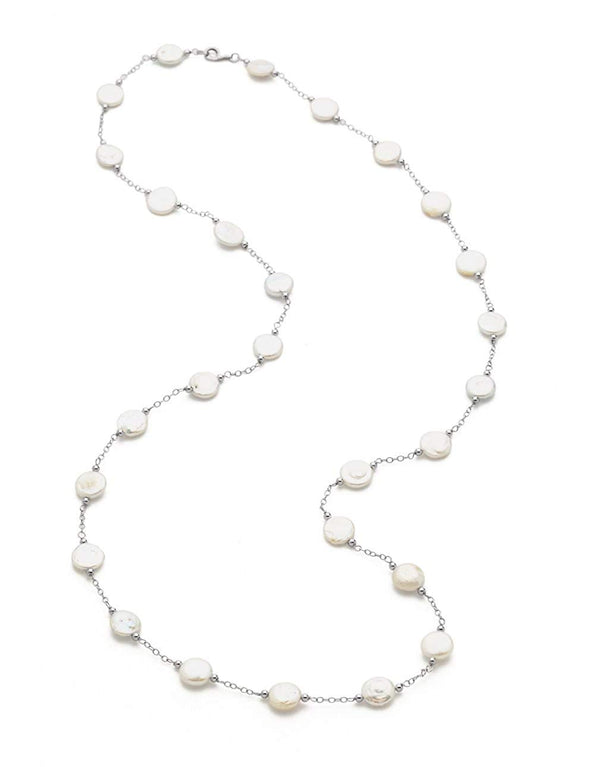White Freshwater Cultured Coin Pearl Station Necklace, 18'' (12-13MM)