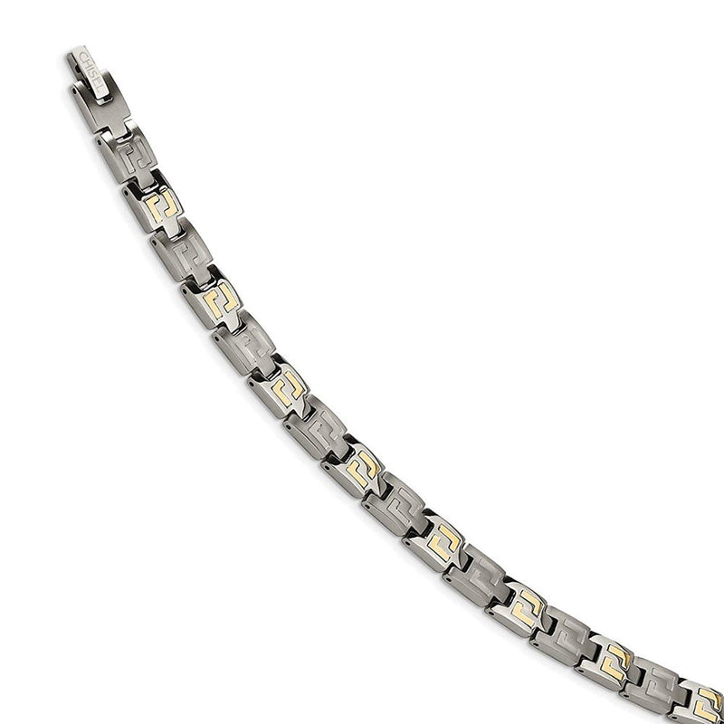 Men's Brushed Titanium with 14k Yellow Gold Inlay 6mm Link Bracelet, 8.5""