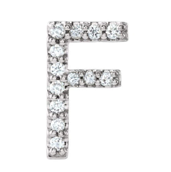 Sterling Silver Diamond Letter 'F' Initial Stud Earring (Single Earring) (.05 Ctw, GH Color, I1 Clarity)