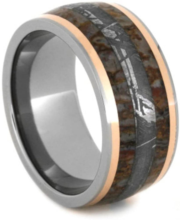 Gibeon Meteorite, Dinosaur Bone, 14k Rose Gold 10mm Comfort-Fit Titanium Wedding Band, Size 11.25