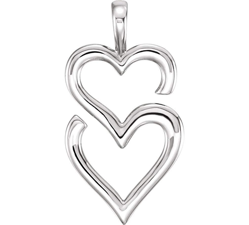 Double Heart Pendant, Rhodium-Plated 14k White Gold