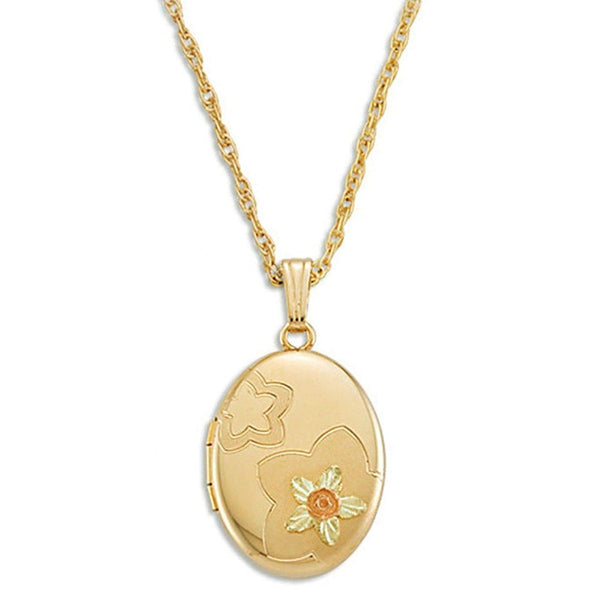 Rose Flowers Oval Pendant Necklace, 10k Yellow Gold, 12k Green and Rose Gold Black Hills Gold Motif, 18""