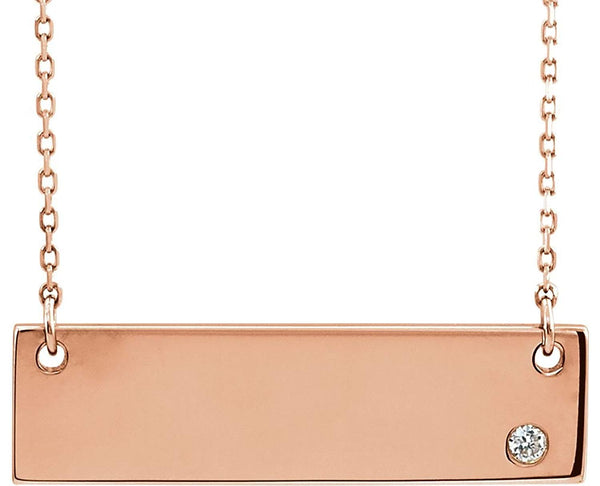 "Diamond Bar Engravable Necklace, 14k Rose Gold 18""( .03 Ct, Color G-H, I1 Clarity)"