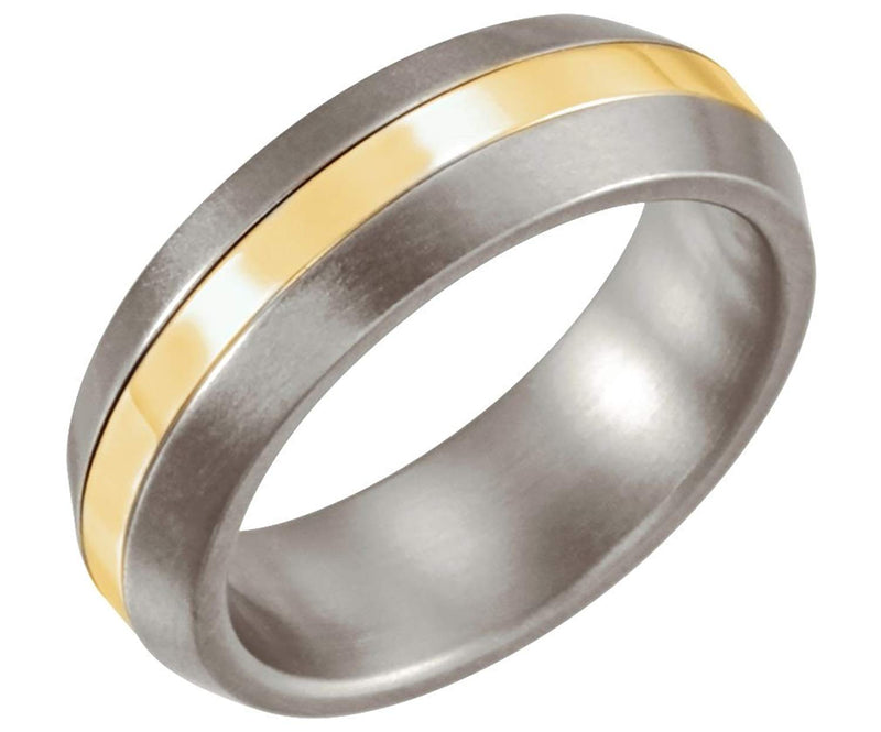 6mm Titanium and 14kt Yellow Gold Inlay Dome Band Sizes 6 to 12