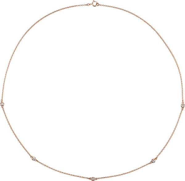 "Diamond Solitaire 14k Rose Gold Pendant Necklace, 18"" (1/4 Cttw)"