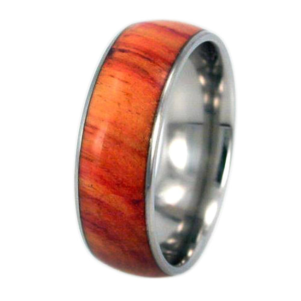 Tulip Wood Inlay 8mm Comfort Fit Titanium Wedding Ring, Size 10