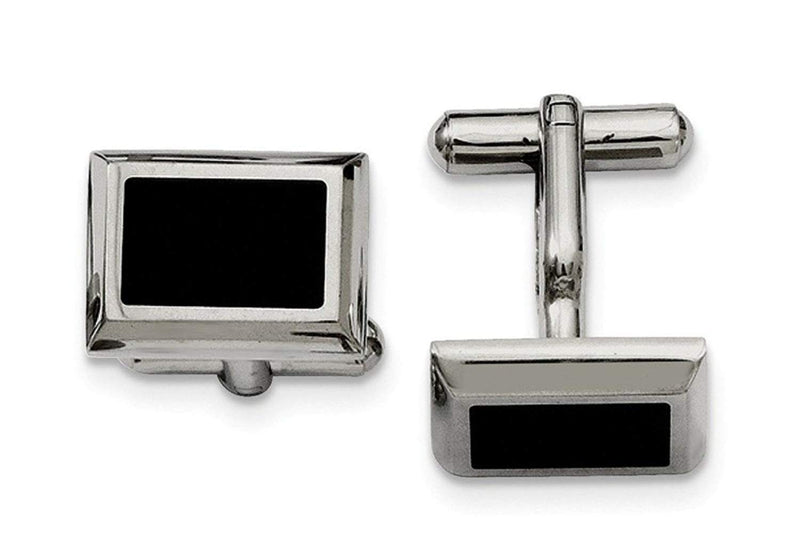 Black IP-Plated Stainless Steel Rectangle Cuff Links, 15X18MM
