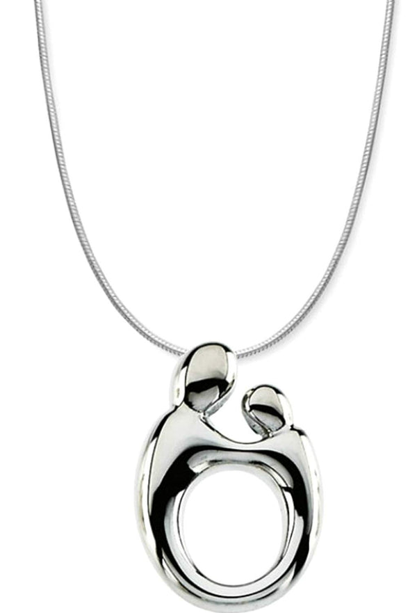 Small Mother and Child Rhodium Plated Sterling Silver Necklace, 20""