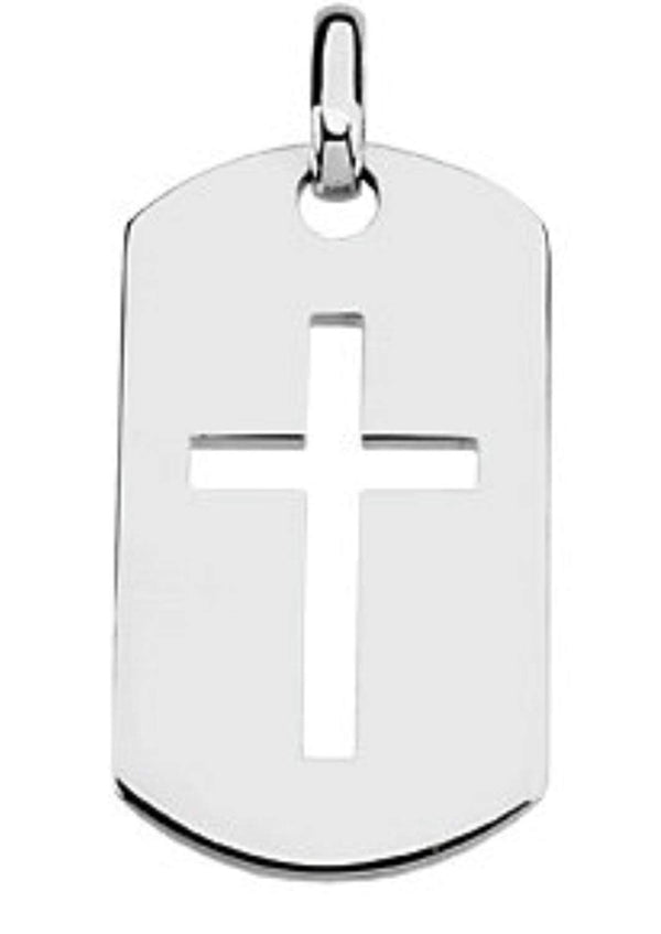 Dog Tag Cross 14k White Gold Pendant (42.00X23.50 MM)