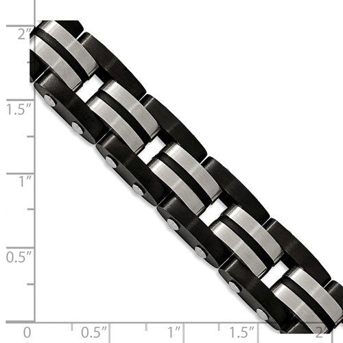 Men's Polished Stainless Steel 12.4mm Brushed Black IP-Plated with Black Rubber Bracelet, 8.25""