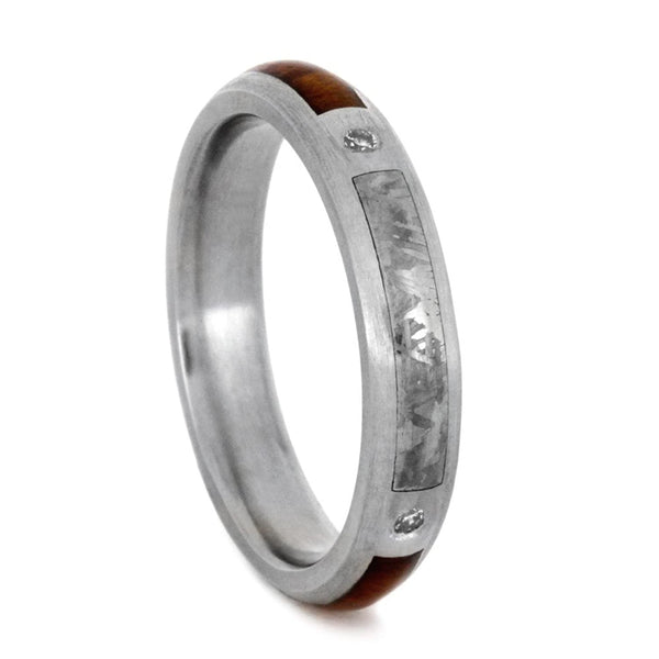 Diamond, Gibeon Meteorite, Snakewood 3mm Comfort-Fit Brushed Titanium Band