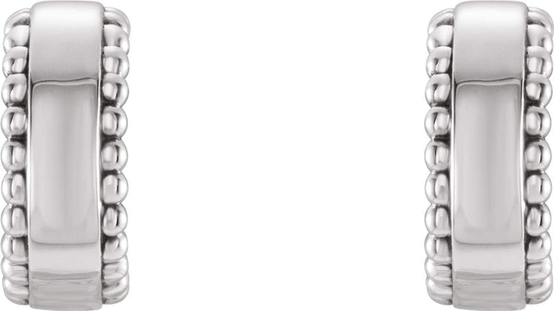 Bead Trim Earrings, Rhodium-Plated 14k White Gold