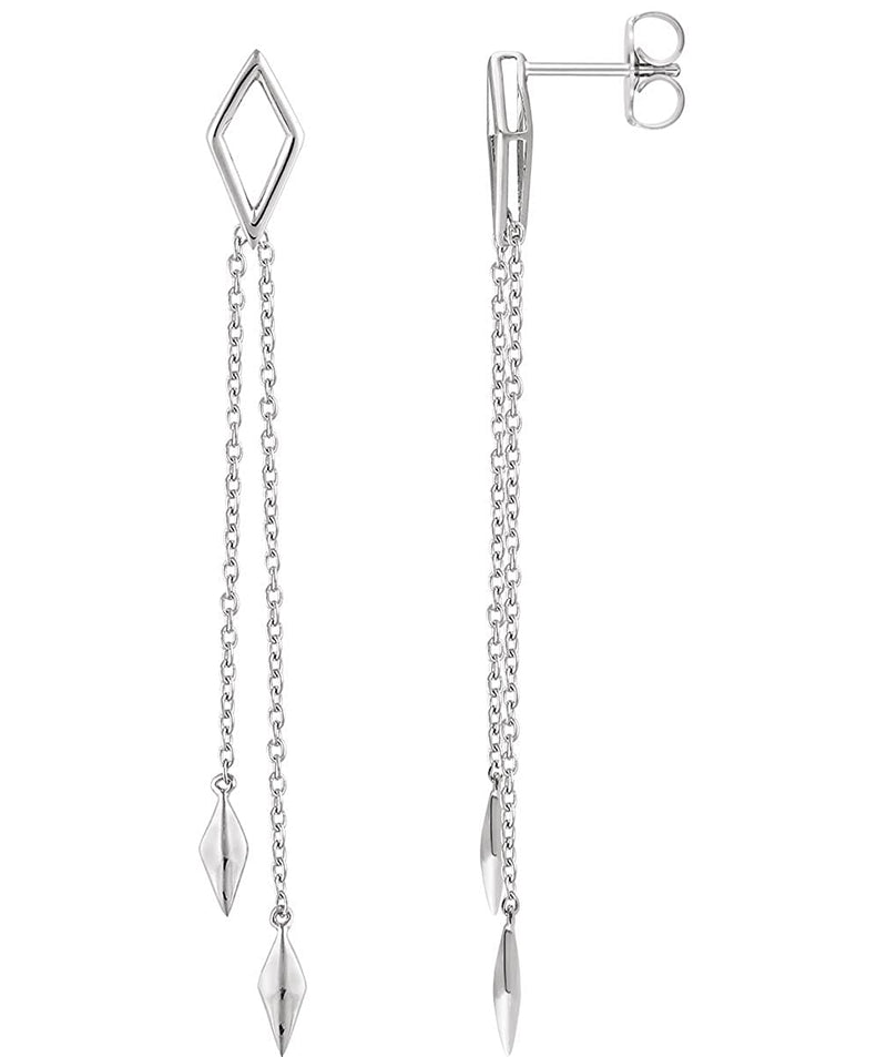 Geometric Chain Earrings, 14k White Gold