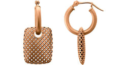 Pierced Rectangular Style Hoop Earrings, 14k Rose Gold