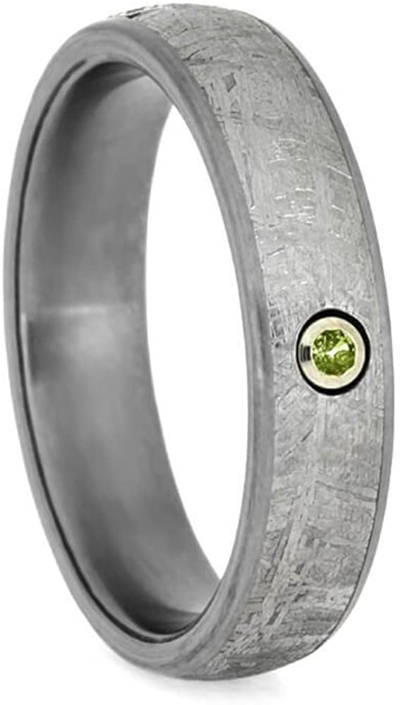 Peridot, Gibeon Meteorite 6mm Matte Titanium Comfort-Fit Wedding Ring, Size 13.75