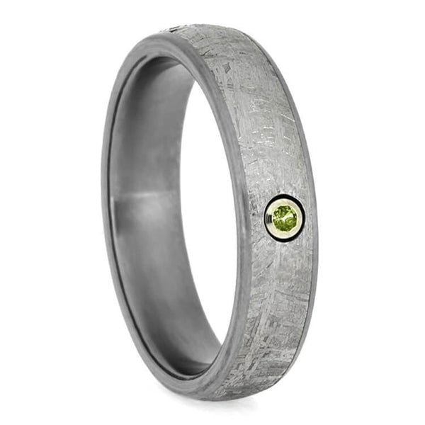 Peridot, Gibeon Meteorite 6mm Matte Titanium Comfort-Fit Wedding Ring, Size 13.25
