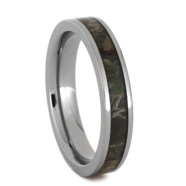 Woodland Camo 5mm Comfort-Fit Polished Titanium Wedding Band
