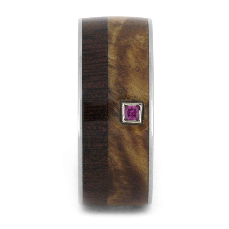 Princess Cut Ruby, Black Ash Burl, Dalmata Wood 9mm Comfort-Fit Titanium Band