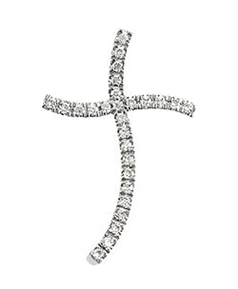 14k White Gold Diamond Cross Pendant (HI Color, I1 Clarity, 1/3 Cttw)