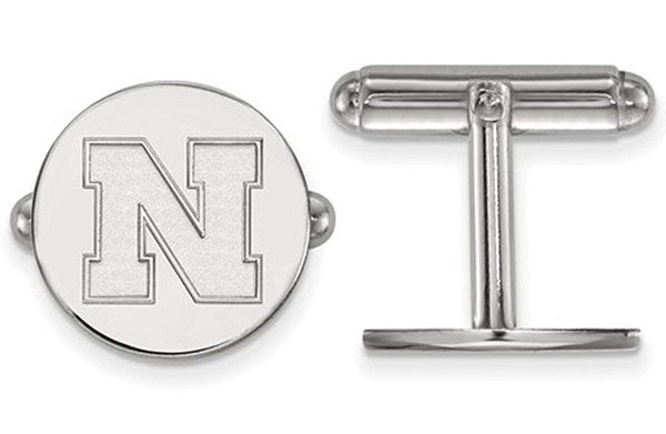 Rhodium-Plated Sterling Silver, University Of Nebraska Cuff Links, 15MM