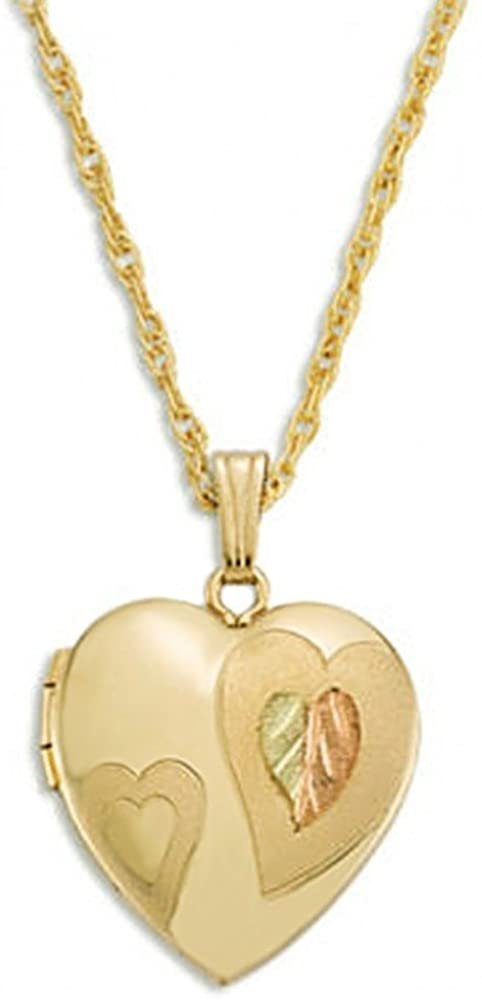 Dome Heart Locket Pendant Necklace, 10k Yellow Gold, 12k Green and Rose Gold Black Hills Gold Motif, 18""