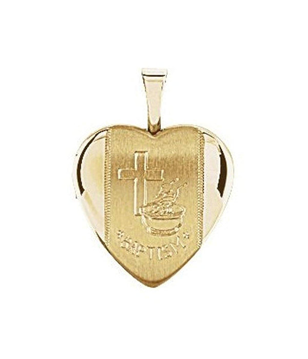 Satin-Brush Heart Baptismal 14k Yellow Gold Plated Sterling Silver Locket (16.50X15.80 MM)