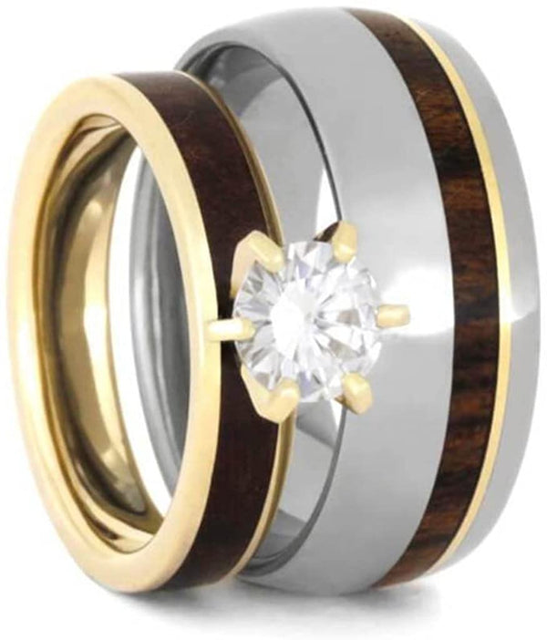 His and Hers 10k Yellow Gold Forever One Moissanite, Maple Burl Ring and Ironwood Comfort-Fit Titanium Band Sizes M12-F7