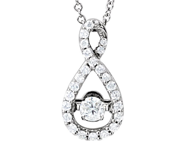 "Mystara Diamond Infinity Pendant Necklace in 14k White Gold, 18"" (1/3 Cttw)"