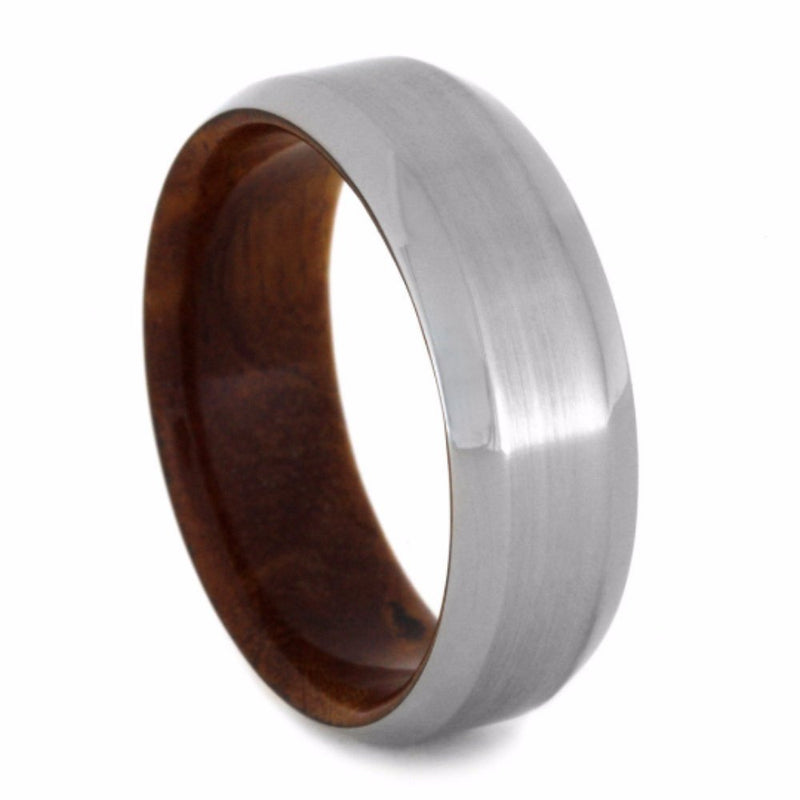 Ironwood Burl 8mm Comfort-Fit Band with Brushed Satin Titanium Overlay