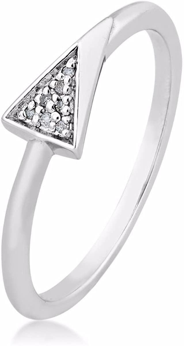 The Men's Jewelry Store (for HER) Diamond Contemporary Triangle Ring, Rhodium Plated Sterling Silver (.021 Ctw)