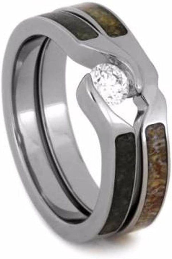 Tension-Set Diamond, Obsidian Engagement Ring, Antler Titanium Wedding Band, Bridal Set Size 8.25