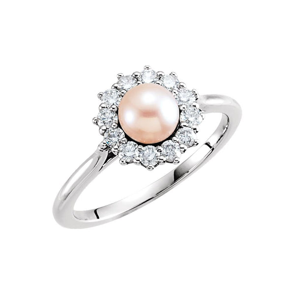 White Freshwater Cultured Pearl Diamond Halo Ring, Sterling Silver (8-8.5mm) (.375Ctw, G-H Color, I1 Clarity)
