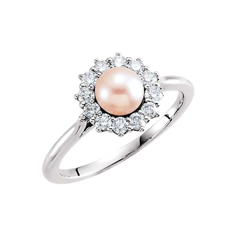 Platinum White Freshwater Cultured Pearl Diamond Halo Ring (8-8.5mm) (.375Ctw, G-H Color, SI2-SI3 Clarity)