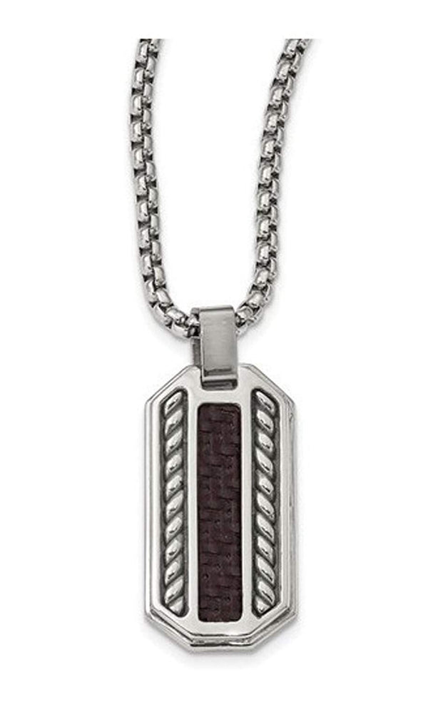 Edward Mirell Stainless Steel Marsala Carbon Fiber Dog Tag Pendant Necklace, 20""